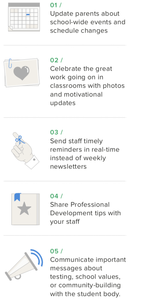 5 ways to use Remind: 1. Update Parents about school-wide events and schedule changes. 2. Celebrate the great work going on in classrooms with photos and motivational updates. 3.Send staff timely reminders in real-time instead of weekly newsletters. 4. Share Professional Development tips with your staff. 5. Communicate important messages about testing, school values or community building with the student body