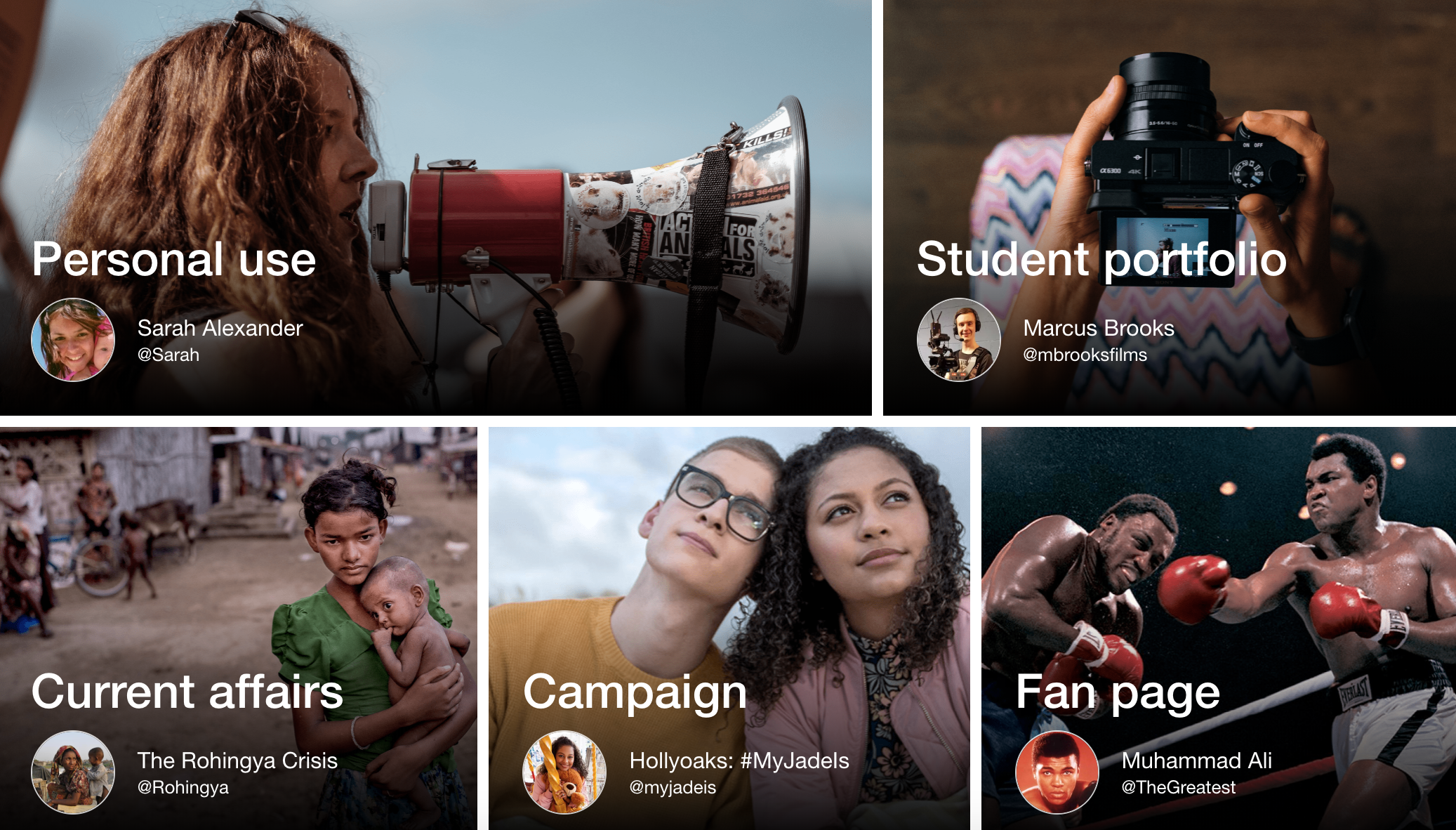 Ways to use Wakelet: Personal Use, Student portfolio, Current affairs, Campaign, Fan page