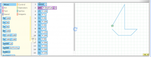 Screenshot of pencil code with programming blocks on the left side of the screen and the code running a script to move a turtle on the right side of the screen