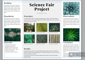 Image of a science fair poster template in Lucidpress.
