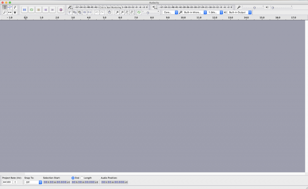An image of Audacity, an open source audio recording and editing software. This image is of the default start-up status of the software.