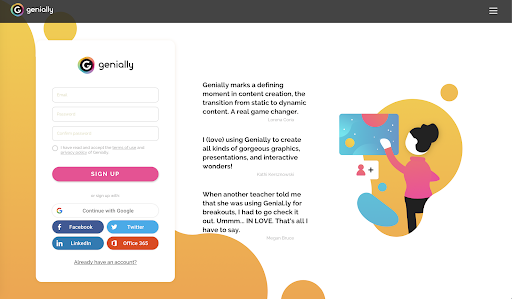 Genial.ly sign in/sign up page. It has the option of signing up with Google, Facebook, Twitter, Linkdin and Office 365.