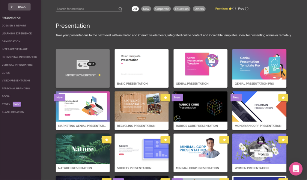 The 'Presentation' page with numerous presentation templates.
