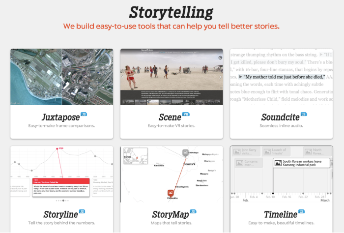 The six Knight Lab Online Storytelling tools