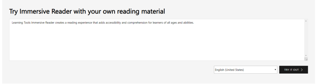 The location where one inputs their own text to use Microsoft Immersive Reader in browser.
