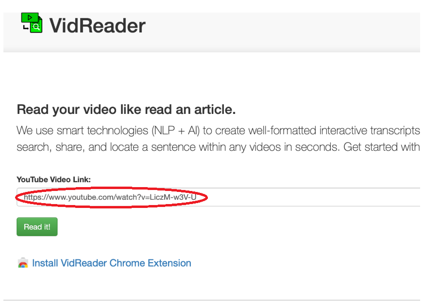 Screenshot of VidReader with the YouTube video link circled in red