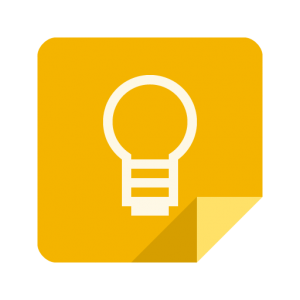 Icon for Google Keep: A white outline of a lighbulb imprinted on a yellow sticky note with the bottom-right corner folded inwards