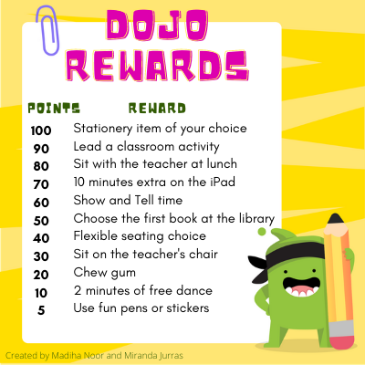 A poster with a list of redeemable rewards in a classroom along with the corresponding number of dojo points.