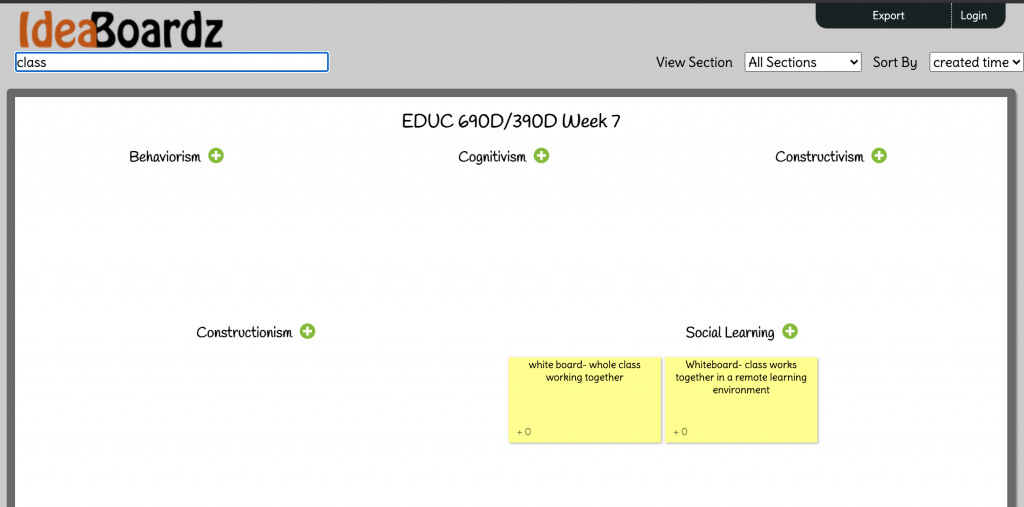 Screenshot of a IdeaBoardz in progress.