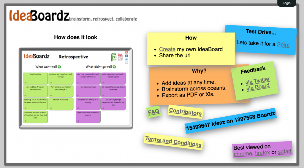 Screenshot of the IdeaBoardz home page.