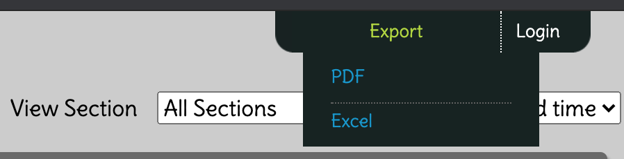 Screenshot of the IdeaBoardz export to pdf or excel sheet pulldown.