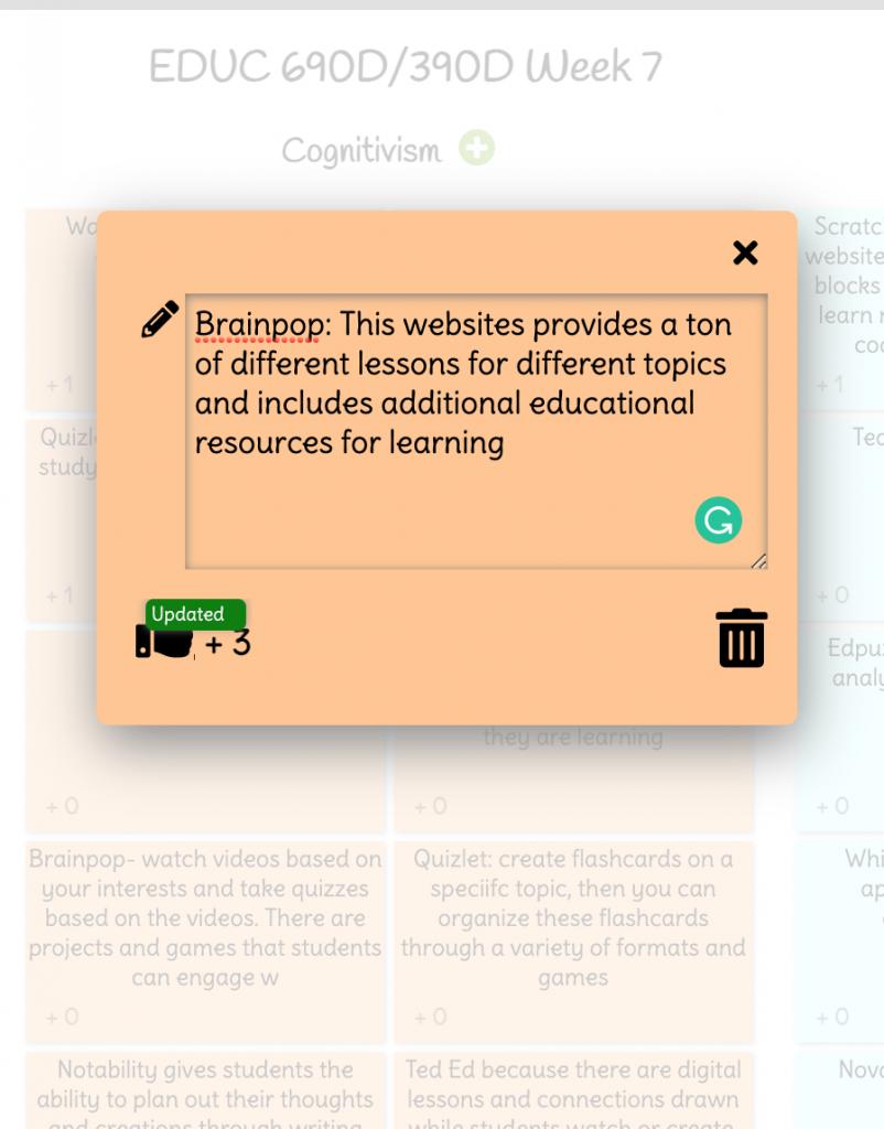 Screenshot of an IdeaBoardz sticky note.