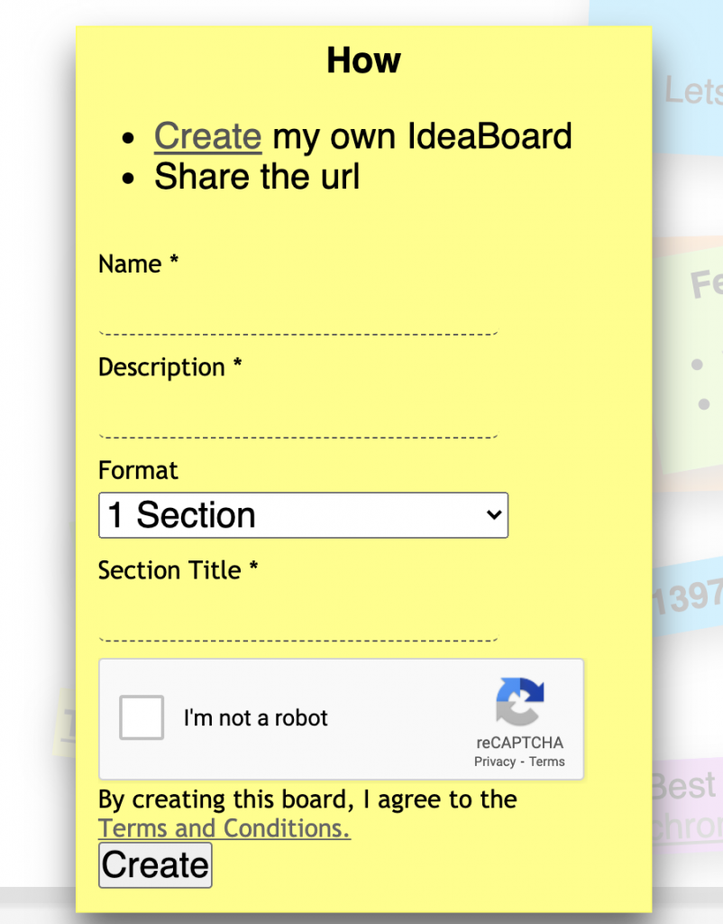 Screenshot of the initially creating board options.