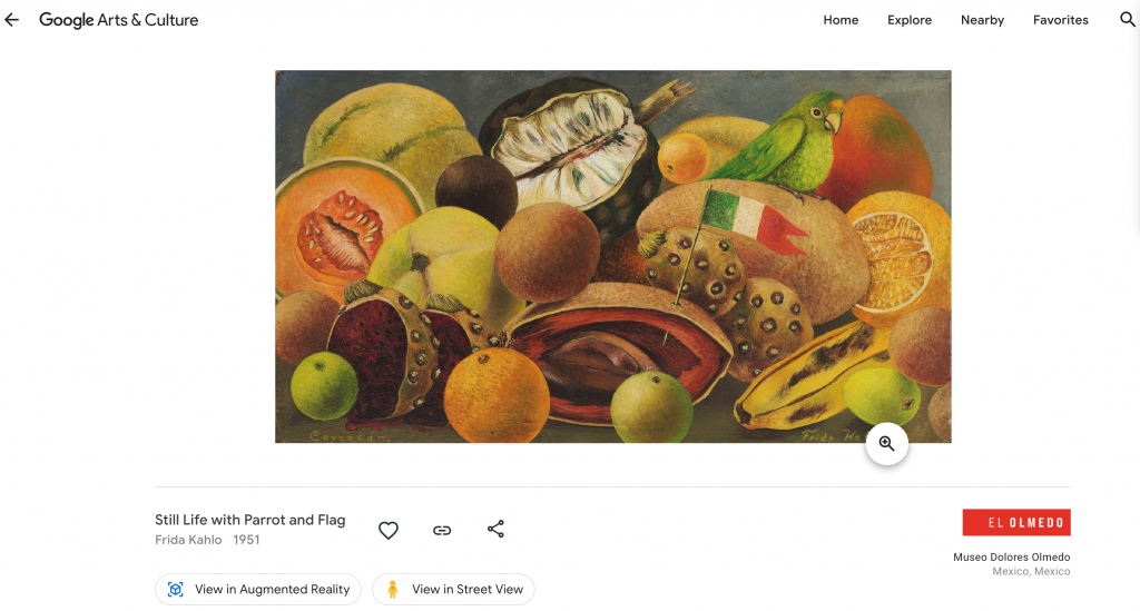 Image depicts a painting of various citrus fruits with a green parrot and a small Mexican flag sticking out from the fruit. Painting is shown through Google Arts and Culture