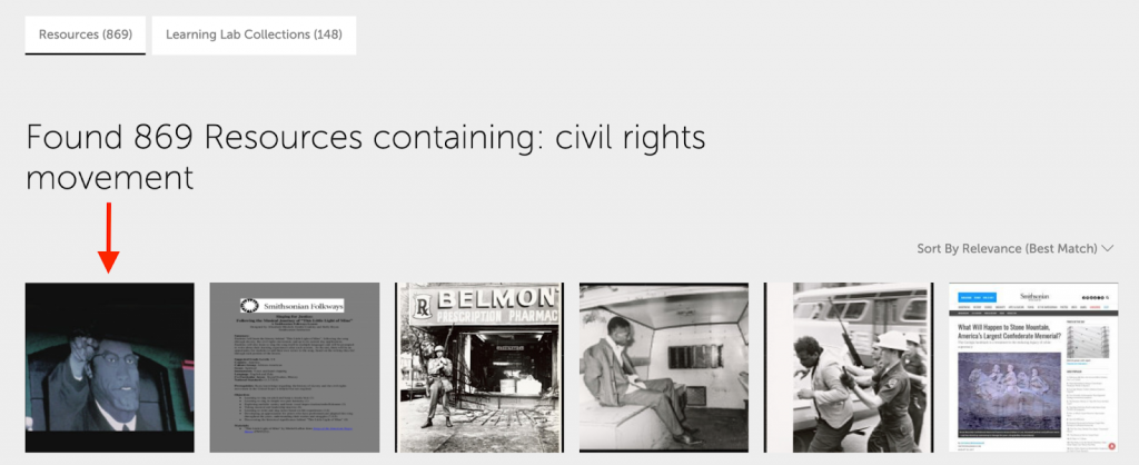 Image of resources found for a search for the civil rights movement with an arrow pointing at an image of Malcolm X.