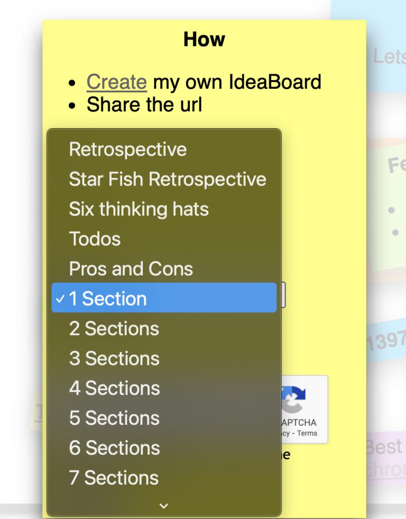 Screenshot of IdeaBoardz section options.