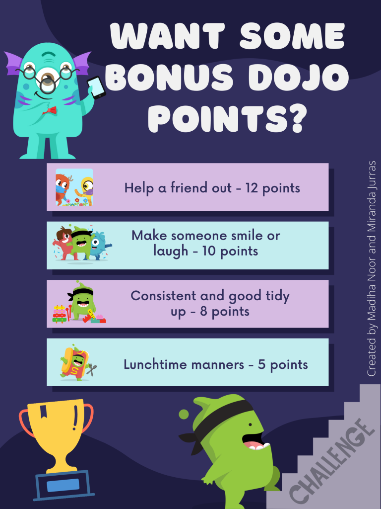 A poster with a list of activities that can get students bonus dojo points for the classroom.