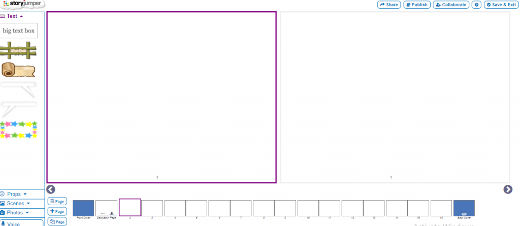 Image of the window the user sees when creating a book.