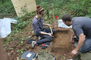Emily Felder & Ryan Howe excavating an archaeological unit during the UMass Archaeology Summer Field School, 2012.