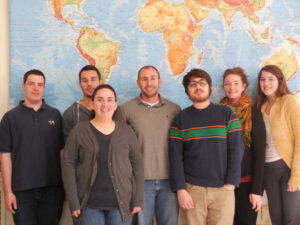 7 of the founding members of Mu Omega chapter of Gamma Theta Upsilon – the Geography Honor Society